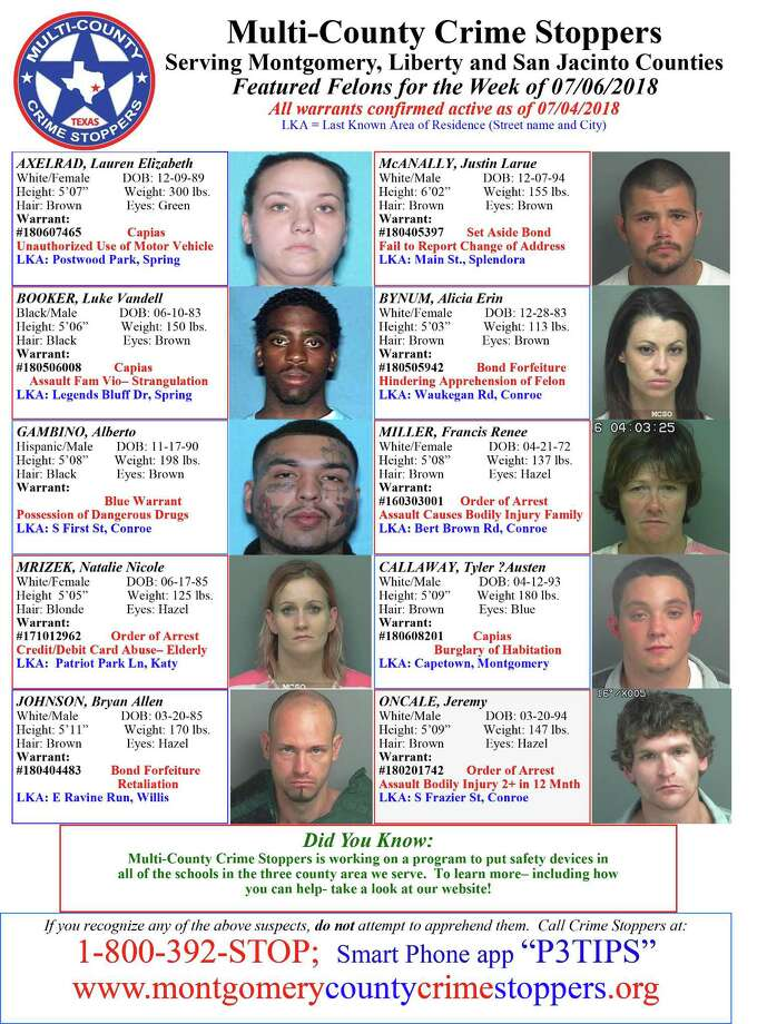The Multi-County Crime Stoppers, which includes Liberty, San Jacinto and Montgomery counties, has picked the people pictured for this week's Featured Fugitive list. If you recognize any of the suspects, do not attempt to apprehend them. Instead call 1-800-392-STOP. For more information, go online to www.montgomerycountycrimestoppers.org. Photo: . / .