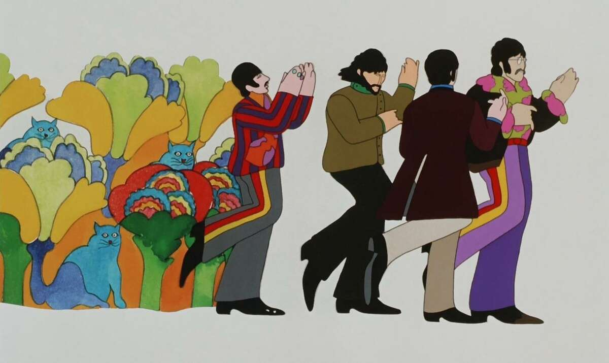 """The Fab Four sing to the """"Nowhere Man,"""" Dr. Jeremy Hillary Boob, in the 1968 animated film """"Yellow Submarine."""" A new 4K digital restoration is set to play at the Castro Theatre."""