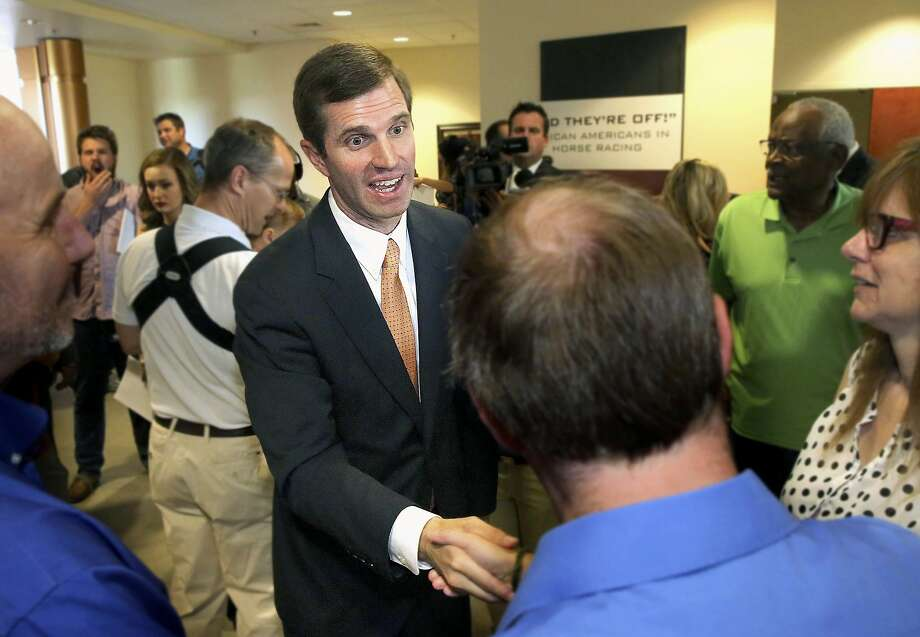 Kentucky Attorney General Andy Beshear, a Democrat, greets supporters in Louisville before announcing his bid for governor. GOP Gov. Matt Bevin has not said if he will seek re-election. Photo: Robin Cornetet / Kentucky Today