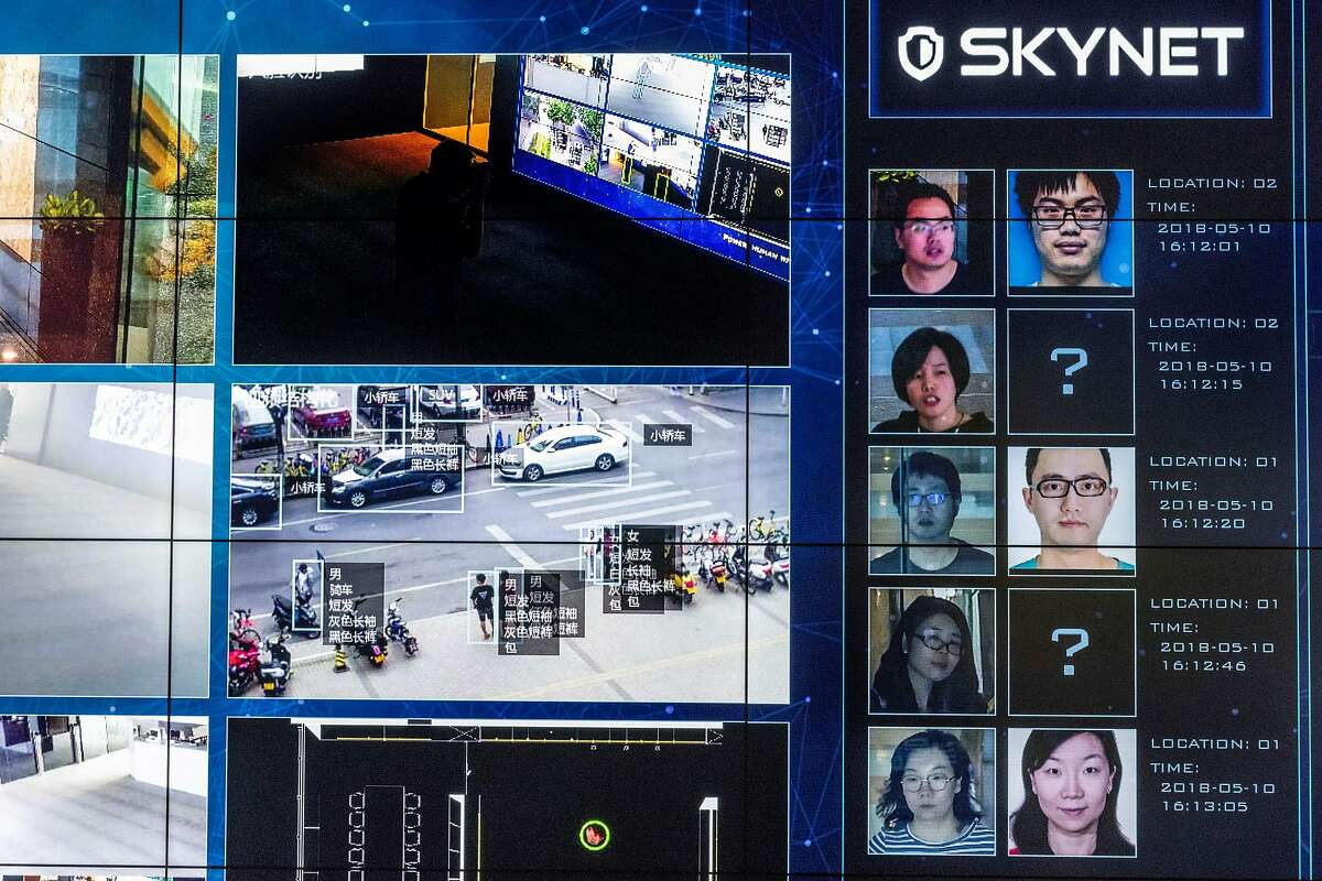 Monitors show facial recognition software in use at the headquarters of the artificial intelligence company Megvii, in Beijing, May 10, 2018. Beijing is putting billions of dollars behind facial recognition and other technologies to track and control its citizens. (Gilles Sabri�/The New York Times)