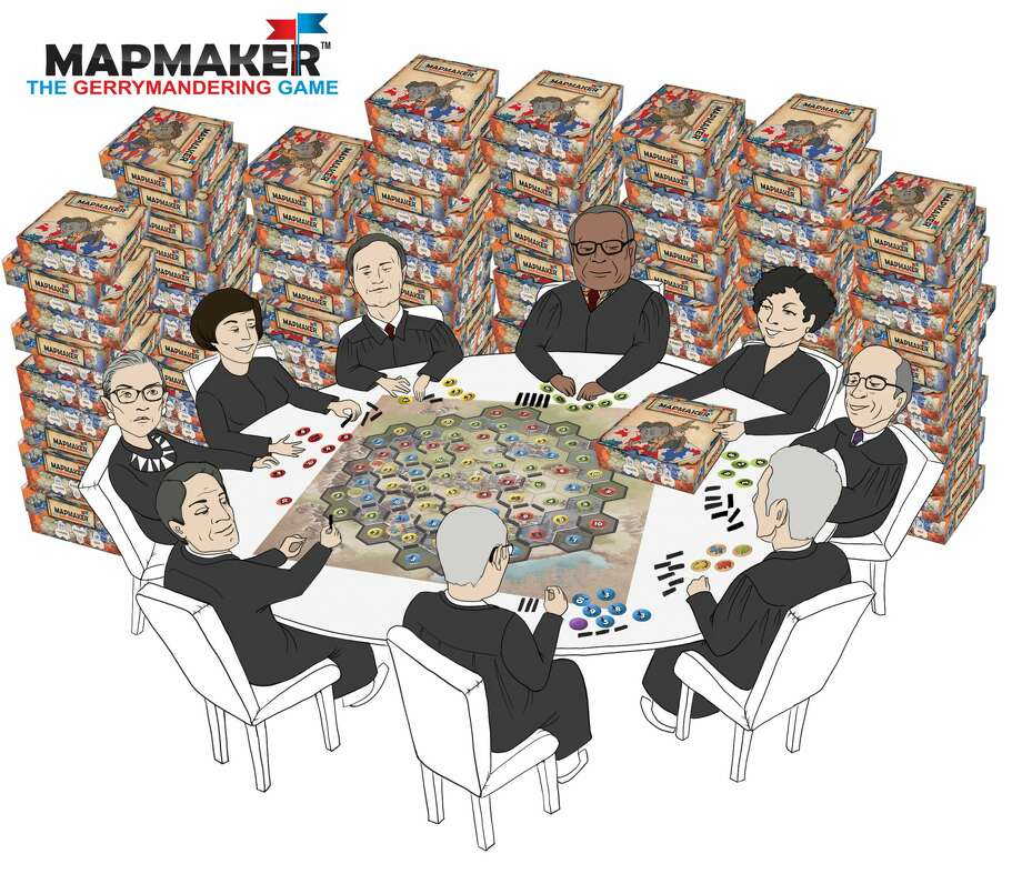 "A drawing of Supreme Court justices playing ""Mapmaker."""
