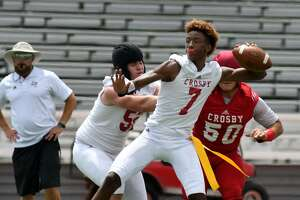 """Crosby senior quarterback Jaiden Howard (7) is ranked in """"Dave Campbell's Texas Football"""" as one of the Top 30 quarterbacks in the state."""
