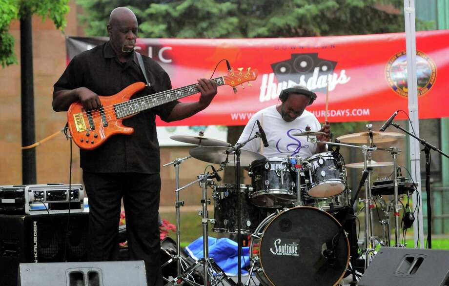 The Sez Zion Jazz Band, formed in 2001 out of Bridgeport, performs during the Downtown Thursdays Concert Series at McLevy Green in downtown Bridgeport, Conn., on Thursday July 27, 2017. Photo: Christian Abraham / Hearst Connecticut Media / Connecticut Post