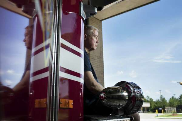 Scott Shaw, 49, was medically discharged from the Houston Fire Department recently. He has stage 4 kidney cancer. ( Marie D. De Jesús / Houston Chronicle )