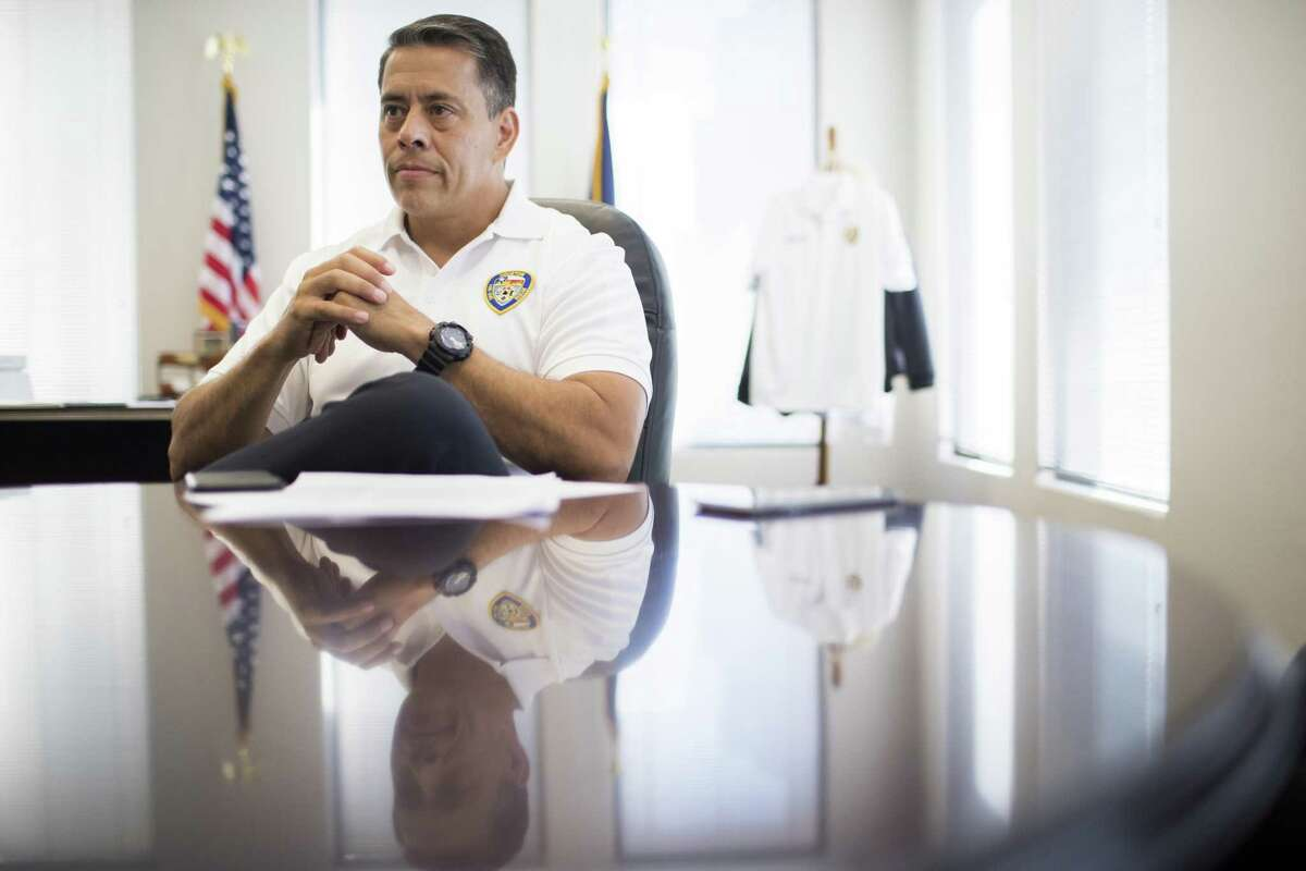 Houston Fire Department Chief Sam Peña at his office in the Houston Fire Department headquarters in Houston. Friday, July 6, 2018, in Houston. Firefighters are pushing for pay parity with the police department.