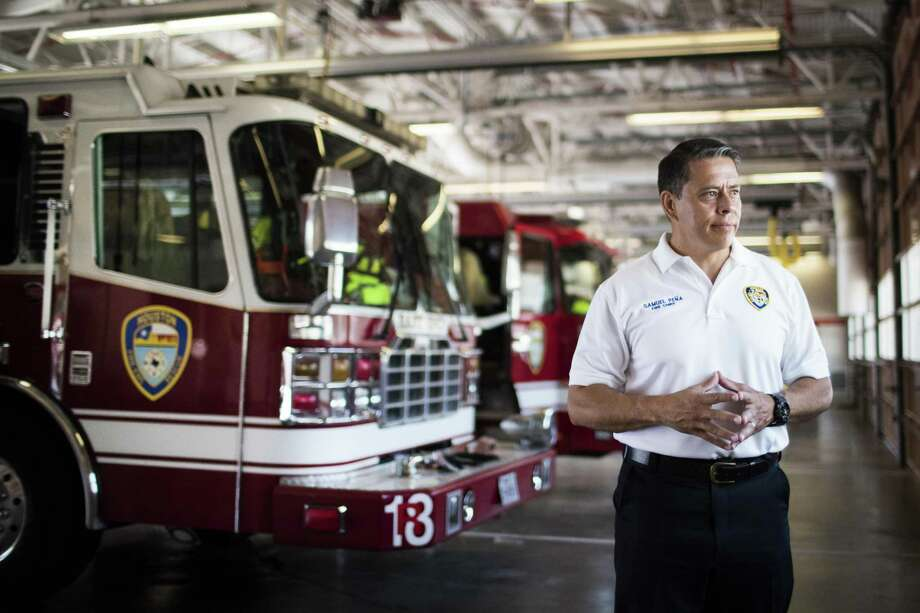 PHOTOS: HOUSTON FIRE DEPARTMENT Fire Chief Sam Peña at Fire Station 8, Friday, July 6, 2018, in Houston. Currently, the Louisiana Street firehouse is the only in the city with a diesel exhaust removal system.>>See the department in its early years.  Photo: Marie D. De Jesús, Staff / Houston Chronicle / © 2018 Houston Chronicle
