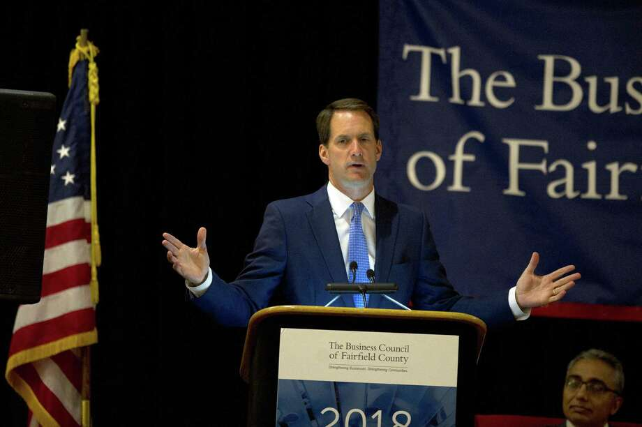 Congressman Jim Himes, a Democrat who represents the Fourth District covering Fairfield County, gives the keynote address at The Business Council of Fairfield County's annual meeting at the Crowne Plaza hotel in Stamford, Conn., on Monday, July 9, 2018. Photo: Michael Cummo / Hearst Connecticut Media / Stamford Advocate