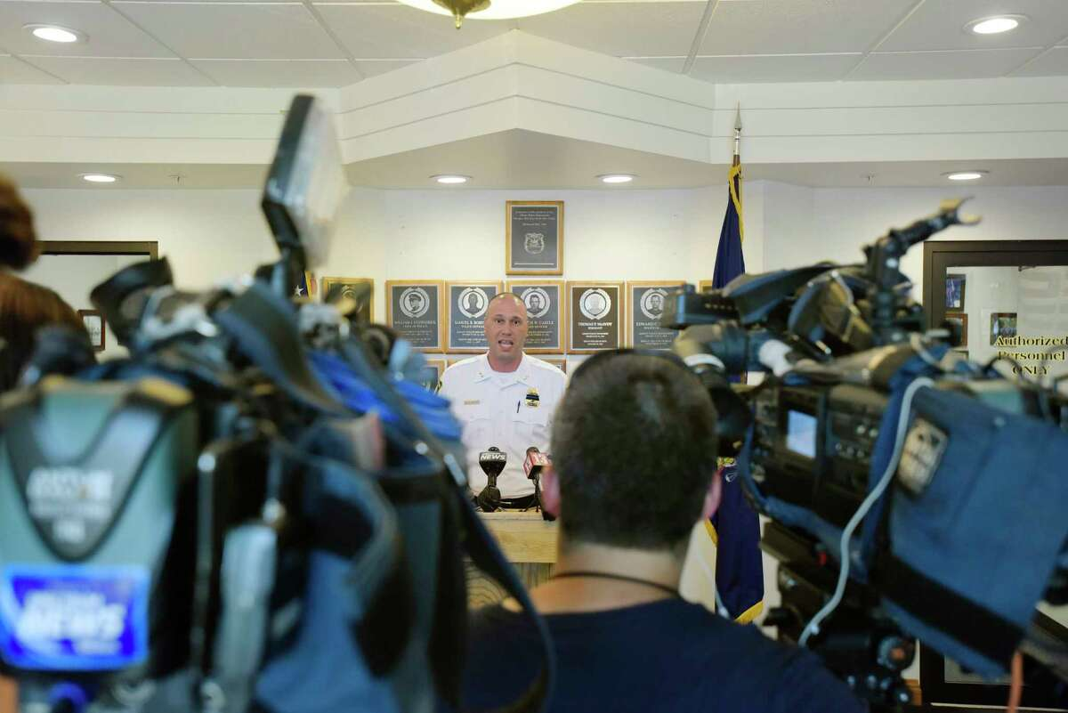 Acting Albany Police Chief Bob Sears talks to members of the media on Monday, July 9, 2018, in Albany, N.Y. Chief Sears held the press conference to comment on the now deleted Facebook post from the city's police union. (Paul Buckowski/Times Union)