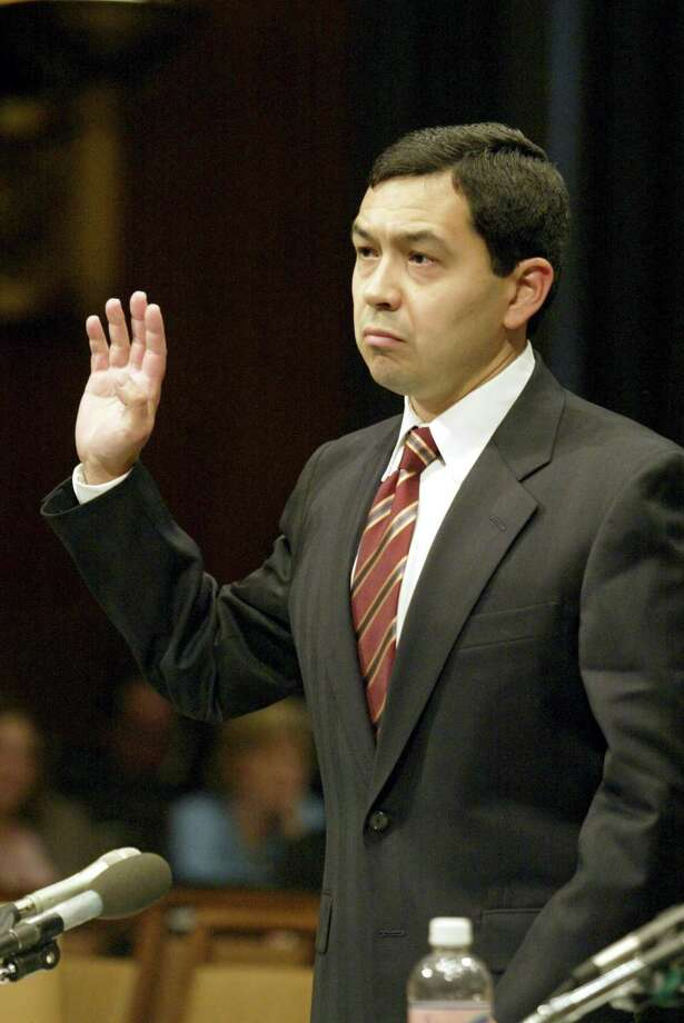 Miguel Estrada as he was sworn in for testimony before the Senate Judiciary Committee during confirmation hearings Sept. 26, 2002. Democrats successfully filibustered Estrada's nomination to sit on the D.C. Appeals Court, a move that has led to Democrats' inability to block Trump's Supreme Court nominee. Photo: PAUL HOSEFROS /NYT / NYTNS