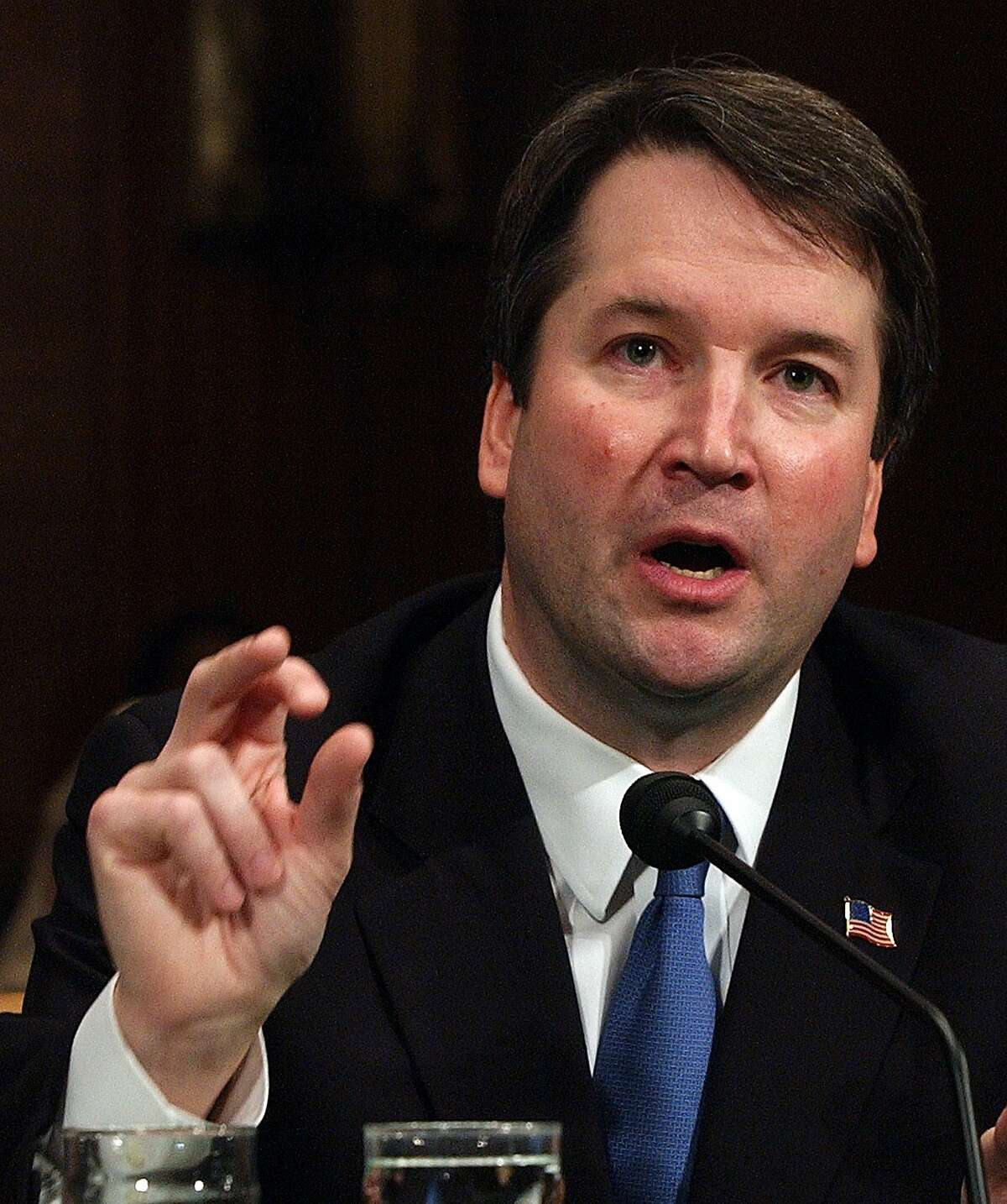 Brett Kavanaugh appears before the Senate Judiciary Committee on Capitol Hill Tuesday, April 27, 2004, on his nomination to be U. S. circuit judge for the District of Columbia Circuit. (AP Photo/Dennis Cook)