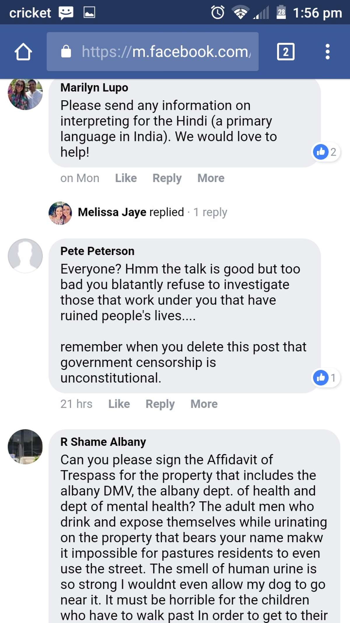 A screenshot provided by Albany city resident Shaun Kelly, who says his free speech rights were violated when Albany County deleted his comment posting as