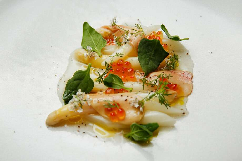 White asparagus with lemon and roe. Photo: Santiago Mejia / The Chronicle