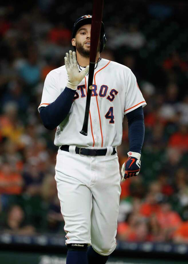 Houston Astros center fielder George Springer (4) reacts after lining out during the third inning of an MLB game at Minute Maid Park, Monday, July 9, 2018, in Houston. Photo: Karen Warren, Houston Chronicle / © 2018 Houston Chronicle