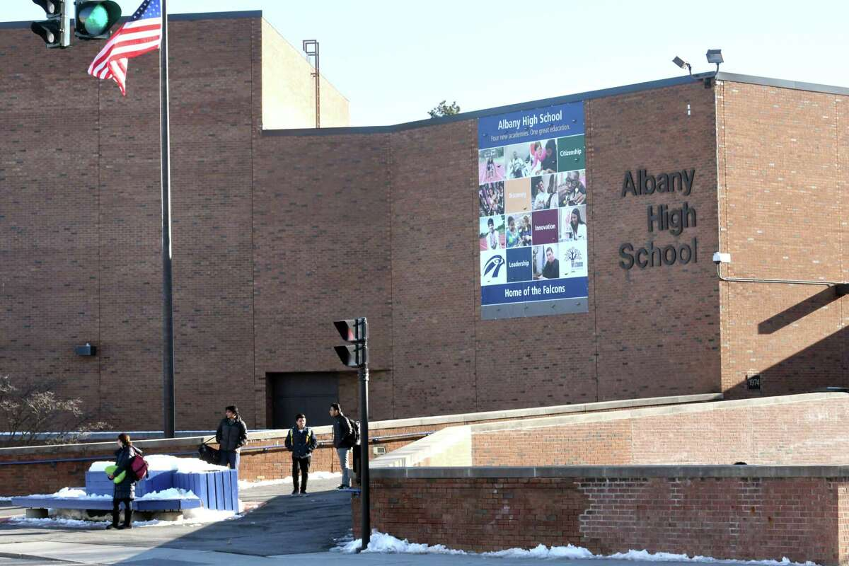 Exterior of Albany High School on Thursday, Feb. 16, 2017 in Albany, N.Y. The Albany City School District is facing a $1.8M budget deficit for 2017-18 that could necessitate a 1.61% increase to the tax levy. (Lori Van Buren / Times Union)