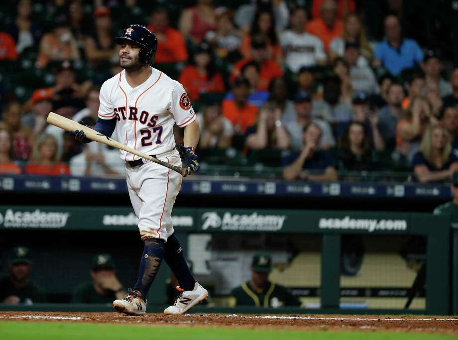 Houston Astros Jose Altuve (27) reacts after striking out during the ninth inning of an MLB game at Minute Maid Park, Monday, July 9, 2018, in Houston. Photo: Karen Warren, Houston Chronicle / © 2018 Houston Chronicle