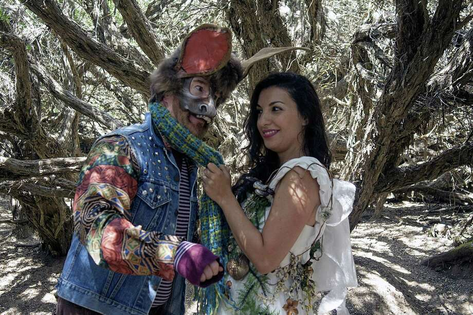 """Michael Ray Wisely as Nick Bottom and Livia Gomes Demarchi as Titania in San Francisco Shakespeare Festival's """"A Midsummer Night's Dream."""" Photo: John Western / San Francisco Shakespeare Festival"""