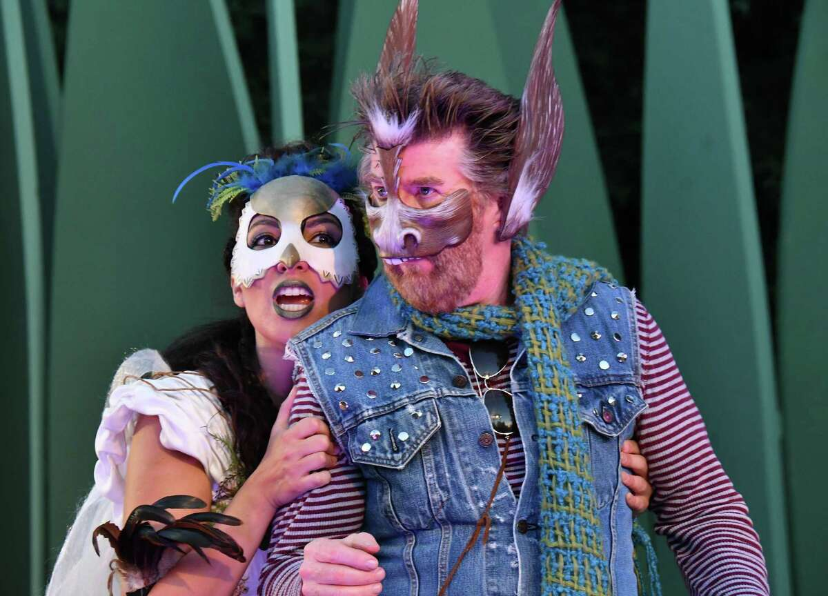 Livia Gomes Demarchi as Titania and Michael Ray Wisely as Nick Bottom in San Francisco Shakespeare Festival's