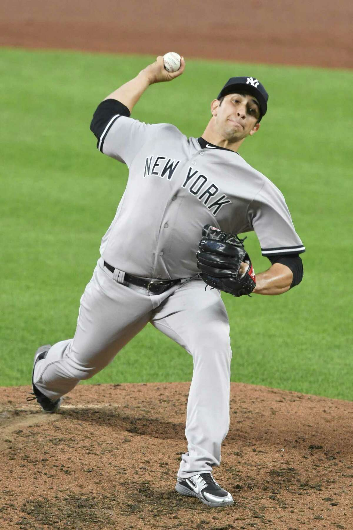BALTIMORE, MD - JULY 09: Luis Cessa #85 of the New York Yankees pitches in the forth inning during a game two of a doubleheader baseball game against the Baltimore Orioles at Oriole Park at Camden Yards on July 9, 2018 in Baltimore, Maryland. (Photo by Mitchell Layton/Getty Images)