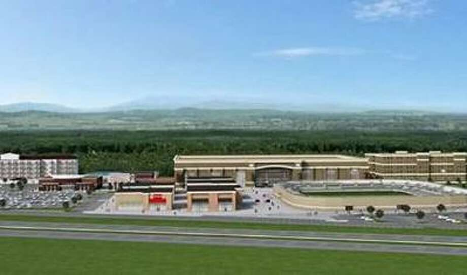 An artist rendering of the All Sports Village proposed in July 2018 for Windsor Locks, Conn., which would include a stadium, arena, playing fields, indoor courts, convention center and two hotels, with the goal of attracting national sports tournaments. (Rendering via Windsor Locks first selectman's office)