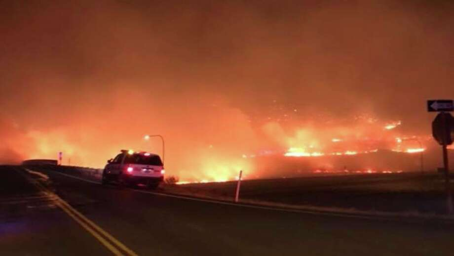 About 120 people have been evacuated from Vantage as a wildfire that started late Monday night threatens their homes. (Photo courtesy: Kittitas County Sheriff's Office) Photo: Komonews.com