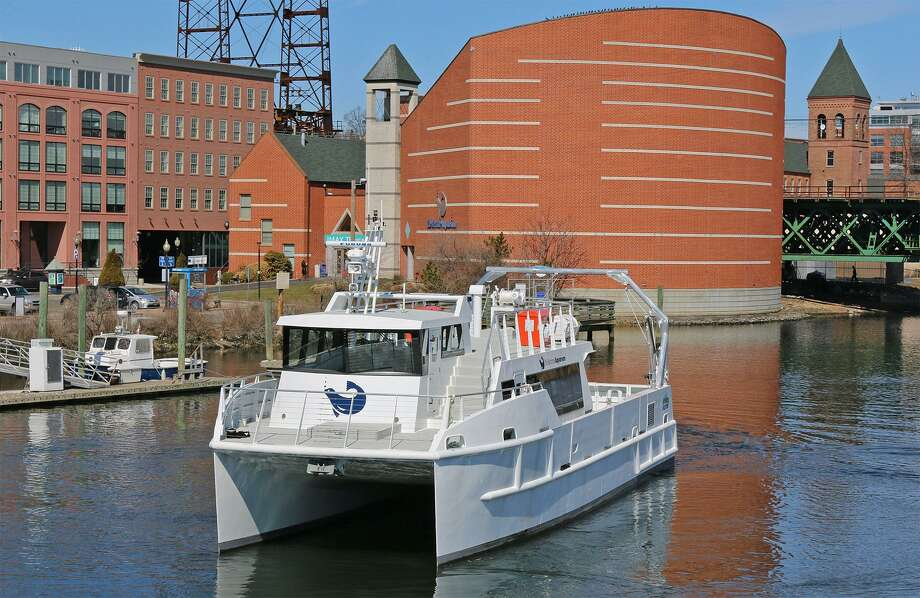 Launched in 2015, The Maritime Aquarium at Norwalk's R/V Spirit of the Sound was America's first research vessel with quiet hybrid-eletric propulsion. The 64-foot catamaran is used for educational cruises for the public and for school groups, and for collecting data about Long Island Sound's marine life and water quality. Photo: Maritime Aquarium At Norwalk / Contributed Photo / Connecticut Post Contributed