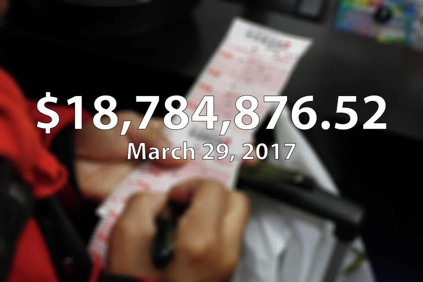 On March 29, 2017, Norma Rios of San Antonio won $18.8 million playing Lotto Texas at HEB Food Store in San Antonio.