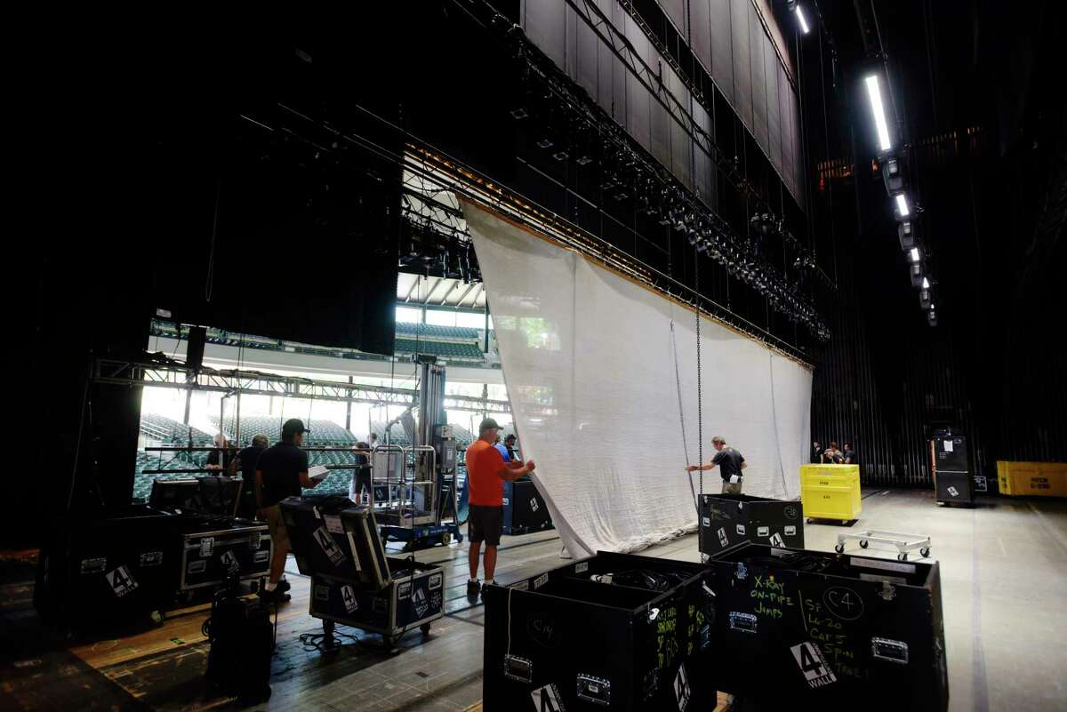 Stage hands begin the setting up for the New York City Ballet Saratoga season at Saratoga Performing Arts Center on Tuesday, July 10, 2018, in Saratoga Springs, N.Y. The ballet season opens on Tuesday, July 17th with New York City Ballet's All Balanchine. On Friday, July 20th, SPAC and Saratoga Shakespeare Co. in association with SaratogaArtsFest will present Shakespeare in the Pines, with the performance of