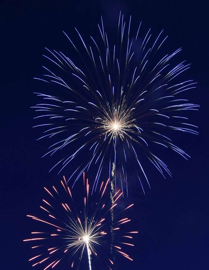 After a hiatus due to poor weather conditions at the Portland Fairgrounds, the town will host its Fourth of July fireworks at the high school Saturday night. Photo: File Photo / Greenwich Time
