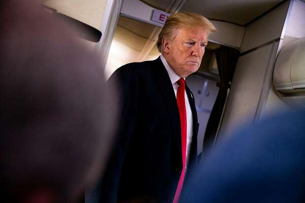 FILE -- President Donald Trump speaks to reporters mid-flight aboard Air Force One from Joint Base Andrews, Md., June 29, 2018. American presidents are usually seen as leaders at NATO, but President Trump might play the role of agitator, sowing disagreement that would play into Russia�s hands. (Al Drago/The New York Times)