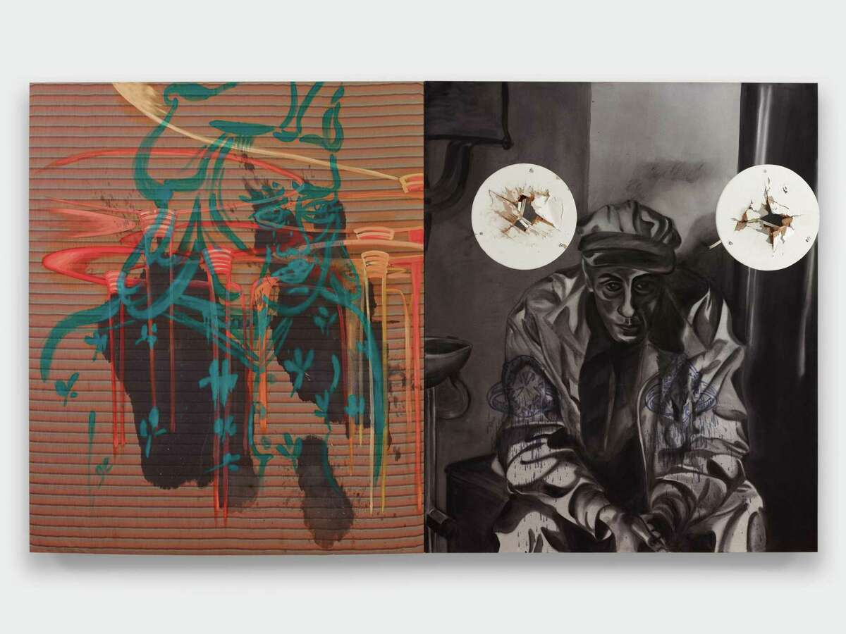 David Salle (American, 1952-) Miner, 1985 acrylic, oil, wooden and metal tables and fabric on canvas diptych 96