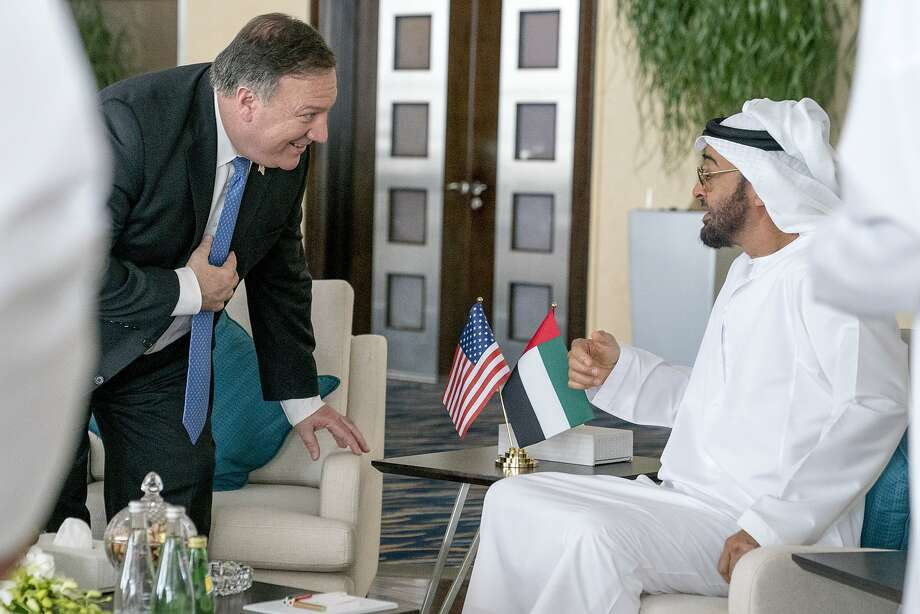 Secretary of State Mike Pompeo meets with Crown Prince Sheikh Mohammed bin Zayed Al Nahyan. Photo: Andrew Harnik / Associated Press
