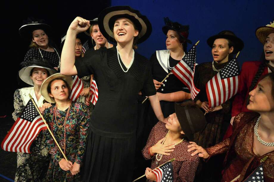 "Lauren Kelly, center, of Norwalk, plays Mary Hirst, president of the Ladies Temperance League, in a scene from Crystal Theater's production of ""Prohibition Norwalk 1925'"" on Tuesday. Photo: Alex Von Kleydorff / Hearst Connecticut Media / Norwalk Hour"