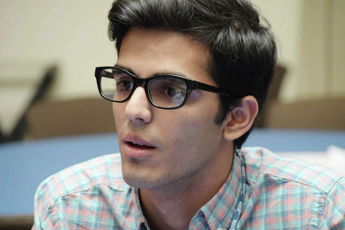 Schalmont High School student, Hamza Noor talks about human rights during an interview at the Capital Region Institute for Human Rights Teen Summer Symposium at NYSUT headquarters on Tuesday, July 10, 2018, in Latham, N.Y. (Paul Buckowski/Times Union)