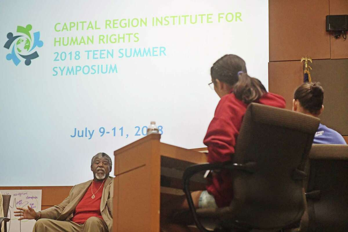 Reverend Victor Collier, of Mount Olivet Baptist Church of Empowerment, talks to area high school students at the Capital Region Institute for Human Rights Teen Summer Symposium at NYSUT headquarters on Tuesday, July 10, 2018, in Latham, N.Y. (Paul Buckowski/Times Union)