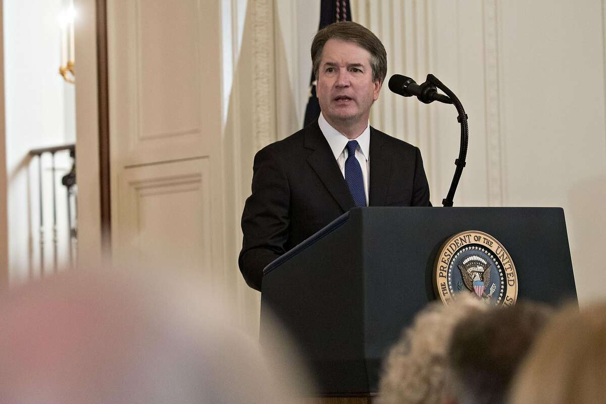 Brett Kavanaugh, appeals court judge, speaks after being nominated as an associate justice of the U.S. Supreme Court by U.S. President Donald Trump, not pictured, during a ceremony in the East Room of the White House in Washington, D.C., U.S., on Monday, July 9, 2018. Trump said he would nominate Kavanaugh for a seat on the U.S. Supreme Court, a choice that could create the most conservative court in generations and threaten landmark rulings including the Roe v. Wade abortion-rights decision. Photographer: Andrew Harrer/Bloomberg