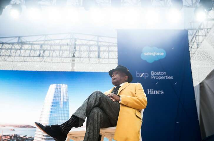 Former San Francisco Mayor Willie Brown acts as the master of ceremonies during the grand opening ceremony of the Salesforce Tower in San Francisco, Calif. Tuesday, May 22, 2018.