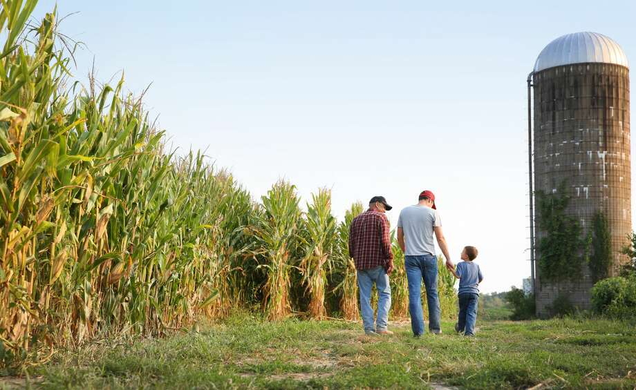 A grandfather, his son and his grandson walk on their Iowa farm. Photo: Katrina Wittkamp/Getty Images