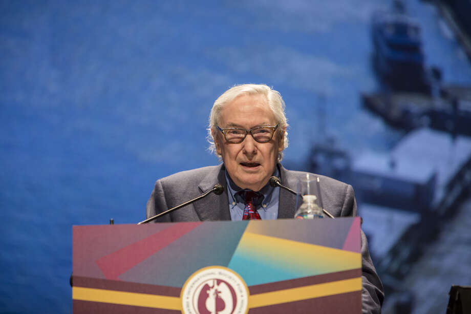 """Dr. O.H. """"Bud"""" Frazier speaks after being presented with the Lifetime Achievement Award from the International Society for Heart and Lung Transplantation in Nice, France April 11, 2018. Photo: Rebecca Marshall"""
