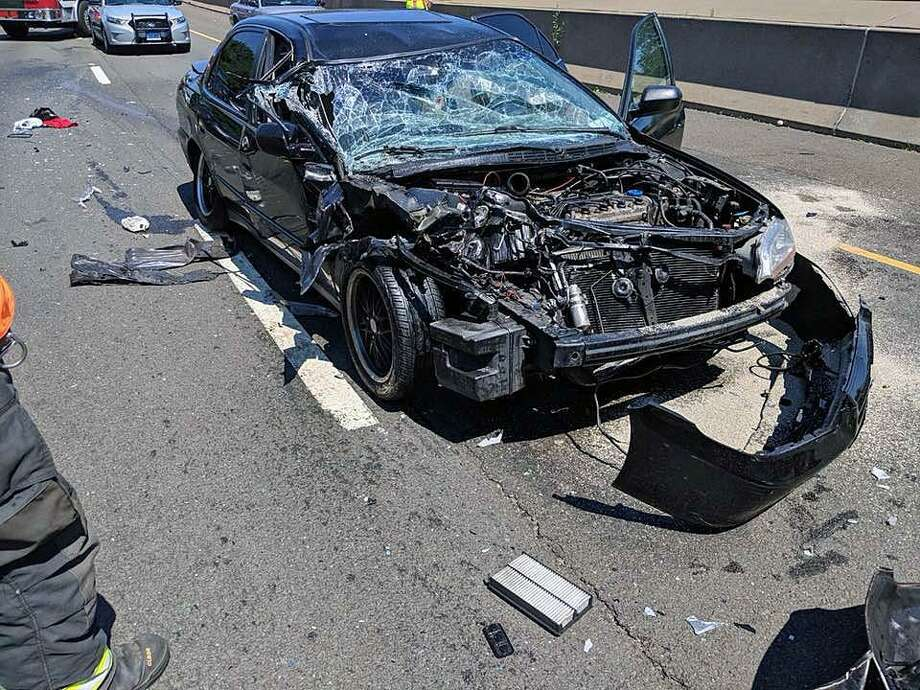 Crash in Westport, Conn., on July 10, 2018. Photo: Contributed Photo / Westport Fire Department / Contributed Photo / Connecticut Post Contributed