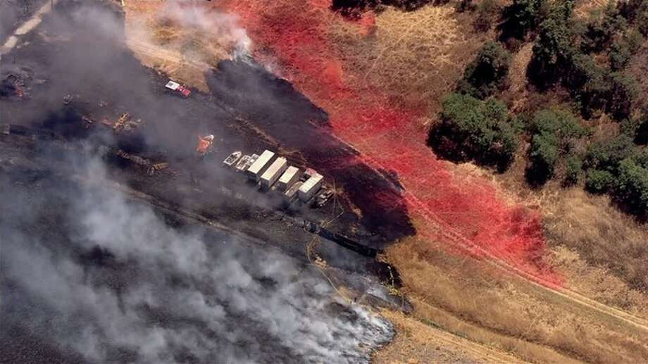 Cal Fire crews are responding to a vegetation fire at Hale and Miramonte avenues near Morgan Hill in unincorporated Santa Clara County this afternoon. Photo: KTVU
