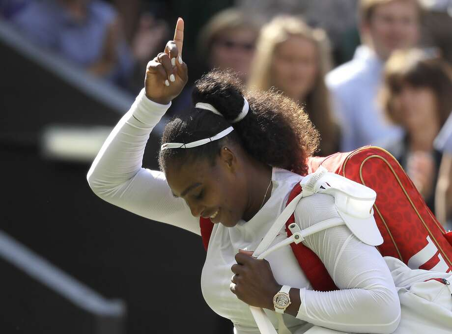 "Serena Williams celebrates winning her quarterfinal match against Italy's Camila Giorgi. Ten months after giving birth, she said, ""Everything right now is a little bit of a surprise."" Photo: Kirsty Wigglesworth / Associated Press"