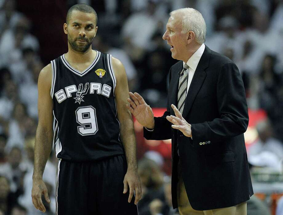 San Antonio Spurs head coach Gregg Popovich instructs guard Tony Parker during Game 2 of the NBA Finals in 2013 against the Miami Heat, A reader says Parker should have finished his career with the Spurs. Photo: Michael Laughlin /TNS / Sun Sentinel