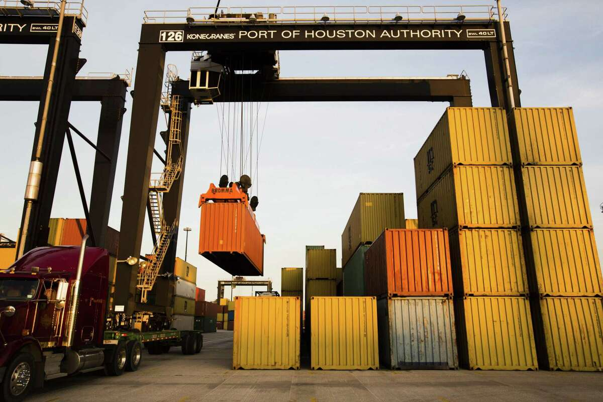 Cargo moves through the Port of Houston in Houston on Dec 26, 2012.