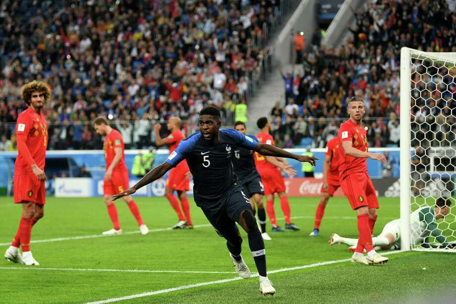 Samuel Umtiti (5) of France celebrates after scoring his team's first goal during the World Cup semifina match between Belgium and France at St. Petersburg Stadium. Photo: Shaun Botterill / Getty Images / 2018 Getty Images