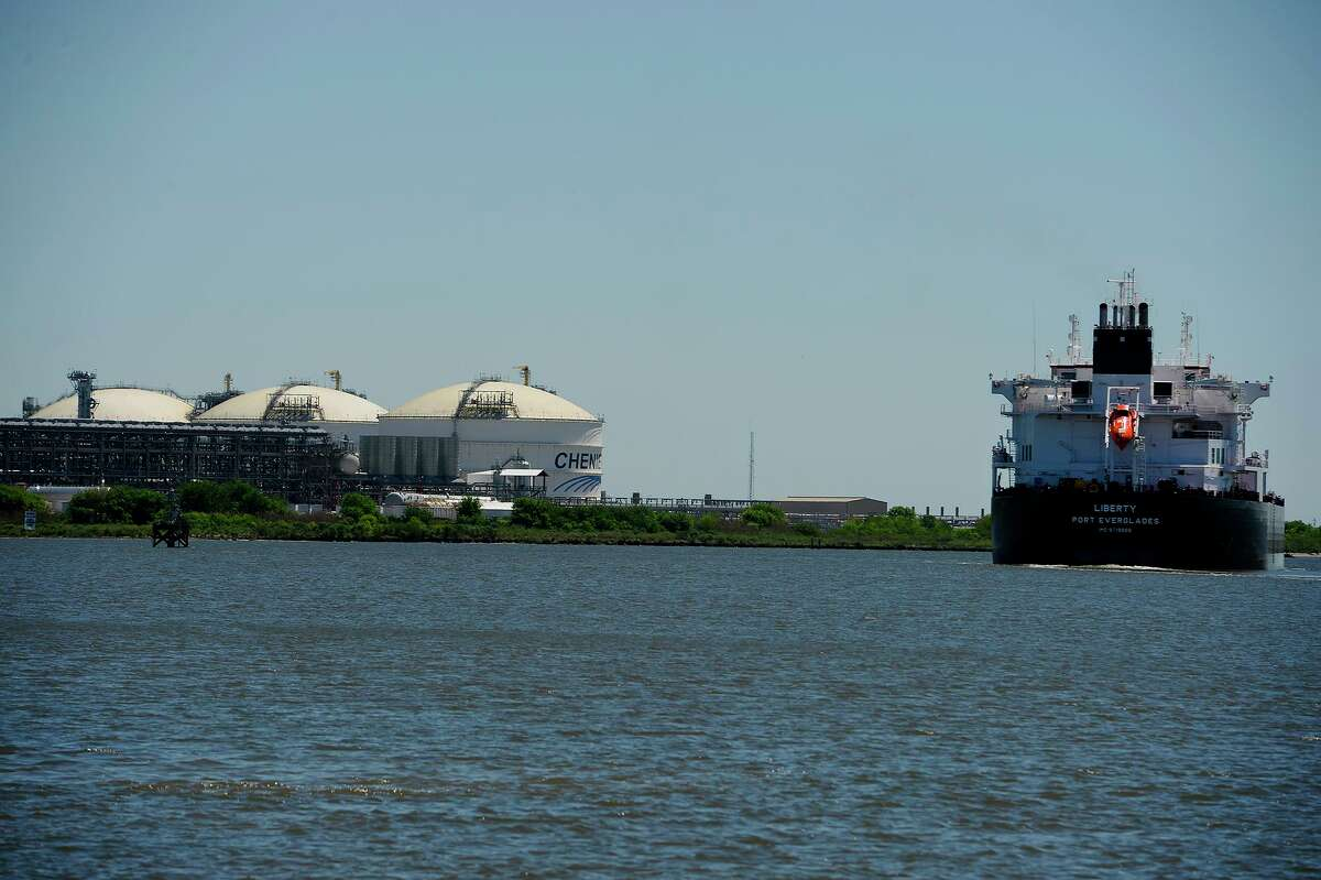 A ship passes by Cheniere Energy's Sabine Pass terminal for liquified natural gas. The U.S.-China trade war threatens a major market for the burgeoning U.S. LNG industry.