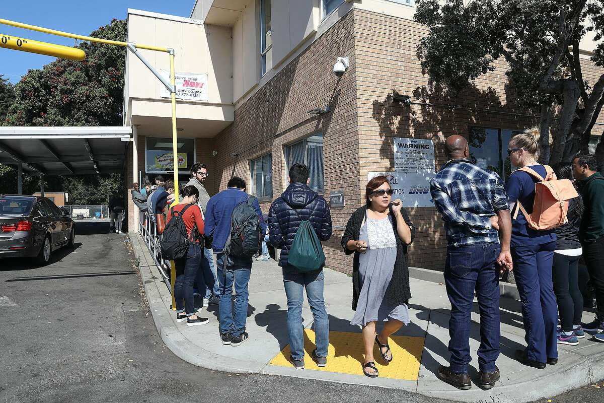 Line for the State Department of Motor Vehicles seen on Thursday, July 5, 2018 in San Francisco, Calif.