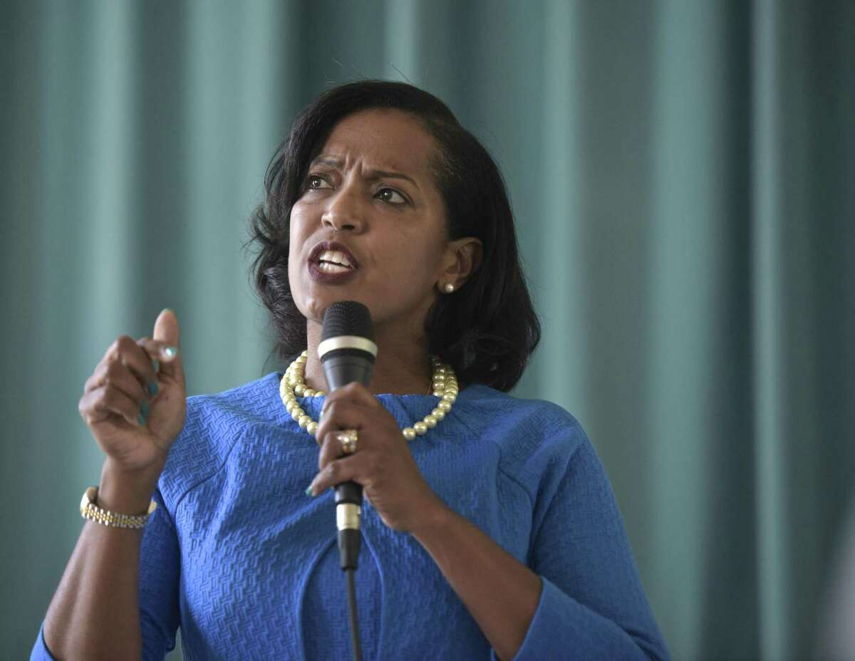 Jahana Hayes, Democratic candidate for the 5th Congressional District, at a forum at Bryan Memorial Town Hall in Washington, Conn. on Sunday.