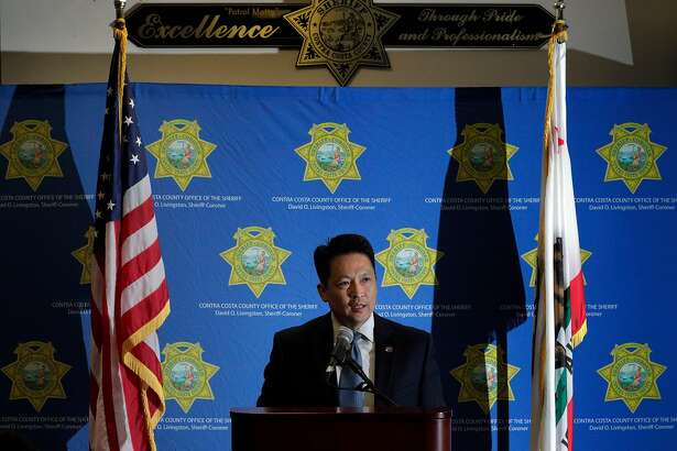 Contra Costa County Sheriff's spokesperson Jimmy Lee introduces Sheriff David O. Livingston during a press conference announcing the end of a contract where Contra Costa County Sheriff's Department provided holding facilities for Immigration and Customs Enforcement detainees in Martinez, Calif., on Tuesday, July 10, 2018.