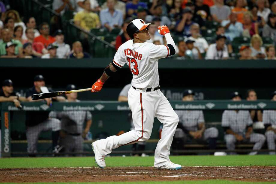 Baltimore Orioles' Manny Machado watches his two-run home run in the seventh inning of a baseball game against the New York Yankees, Tuesday, July 10, 2018, in Baltimore. (AP Photo/Patrick Semansky) Photo: Patrick Semansky / Copyright 2018 The Associated Press. All rights reserved.