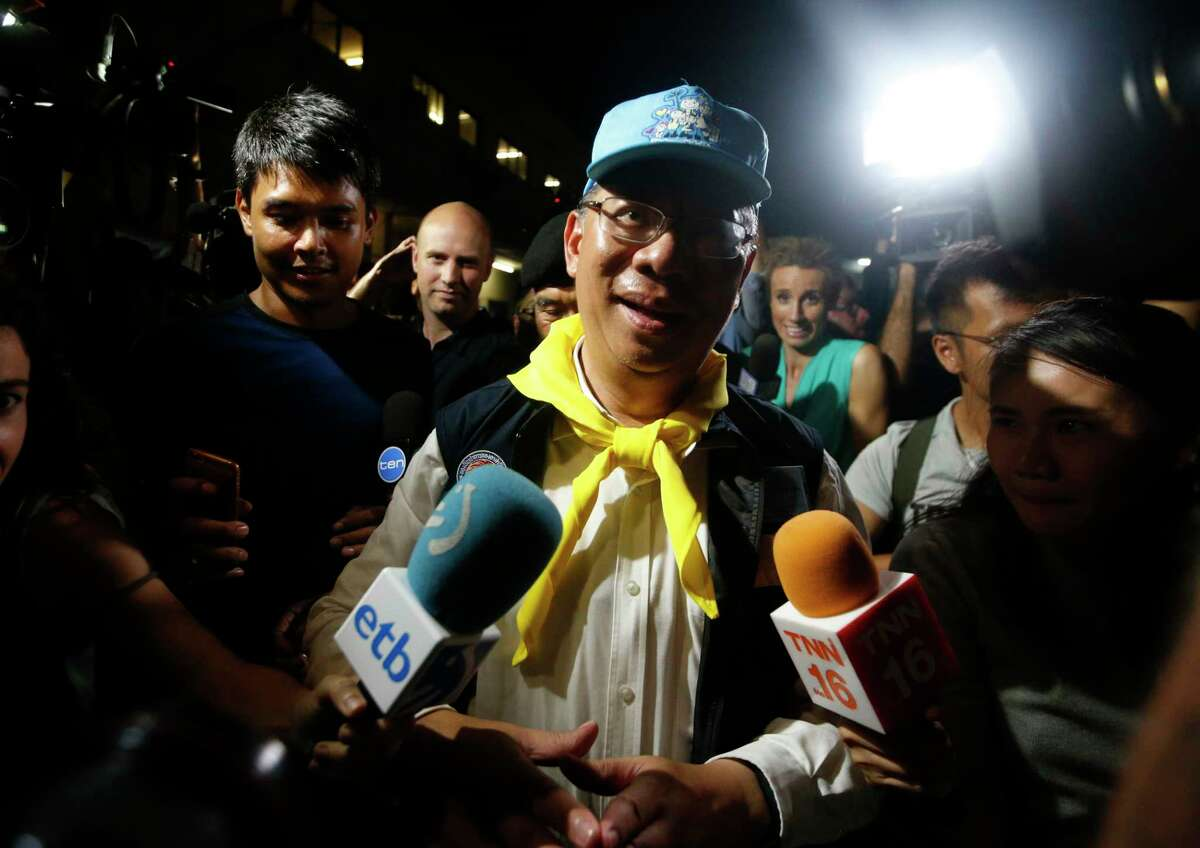 Chiang Rai province acting Gov. Narongsak Osatanakorn, who is leading the ongoing rescue operation of the soccer team and coach trapped in a flooded cave, talks to media during a press conference in Mae Sai, Chiang Rai province, northern Thailand, Tuesday, July 10, 2018. Thai Navy SEALs say all 12 boys and their coach were rescued from the cave, ending an ordeal that lasted more than 2 weeks. (AP Photo/Sakchai Lalit)